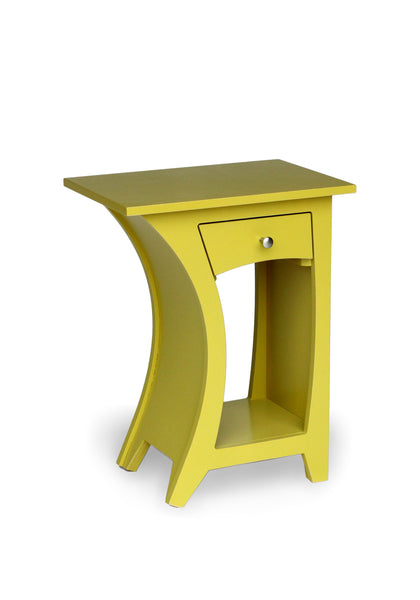 Curved Side Table in Chartreuse Paint