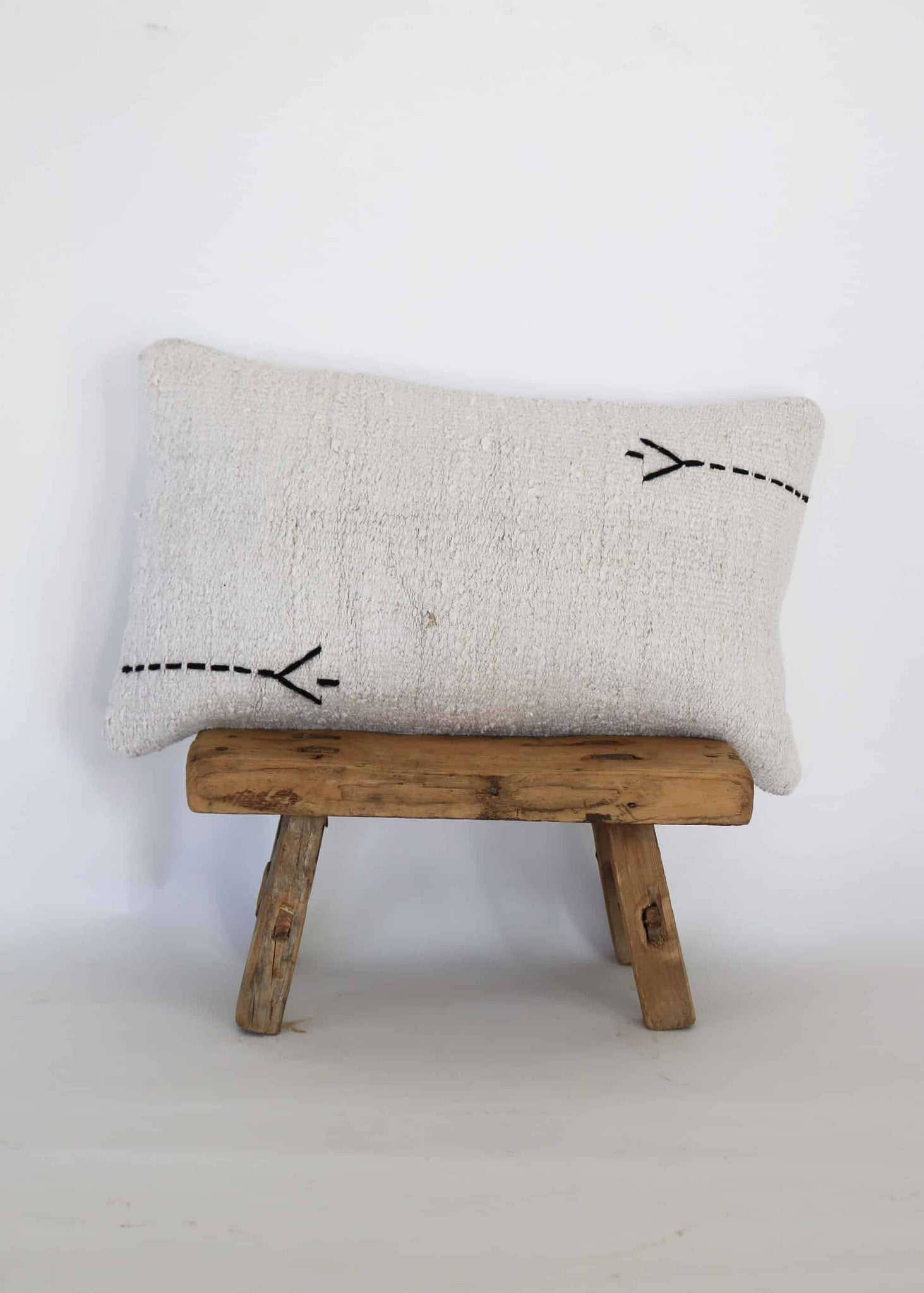 Vintage Hemp Kilim Lumbar Pillow (A)