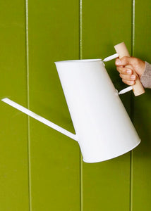 Wood and White Watering Can