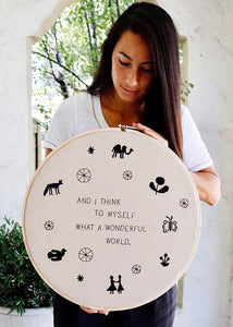 What a Wonderful World Embroidery Hoop