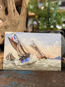 Vintage French Water Color - Sail Boats