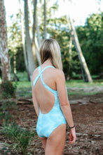 Aqua Palm Leaves | Cross Back One-Piece