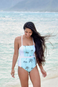 Blue Palm + Stone Gray | Reversible One-Piece