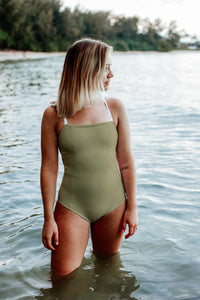 Gray Floral + Olive | Reversible One-Piece