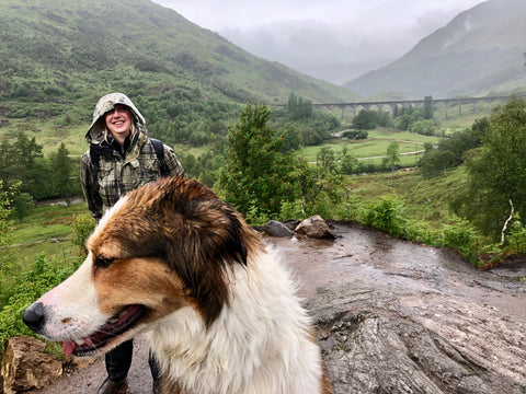 At Glenfinnan with Diane and Willow and a spot of rain.