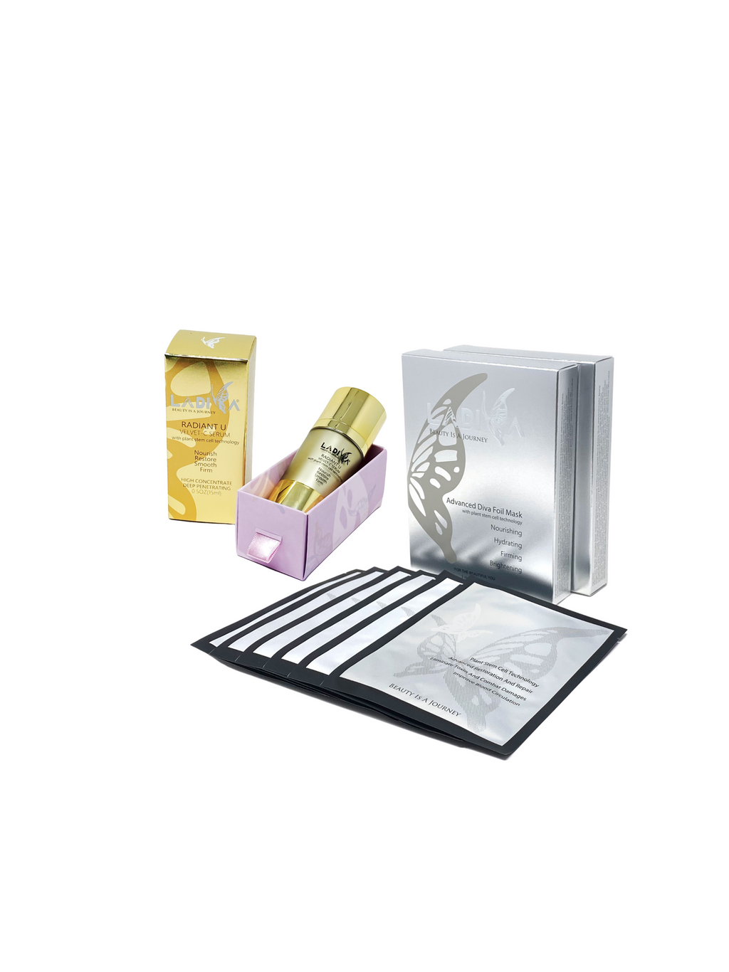 LaDiva Special Skincare Pack: Radiant U Velvet C Serum 1-Bottle & Advanced Diva Foil Mask 2-Box Pack (6 Masks)