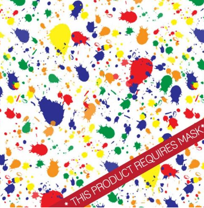 "Rainbow Paint Splatter 12"" Pattern Heat Transfer Vinyl / Siser Easy Patterns / Printed HTV"