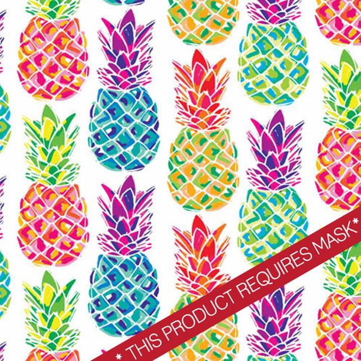 "Watercolor Pineapples 12"" Pattern Heat Transfer Vinyl / Siser Easy Patterns / Printed HTV"