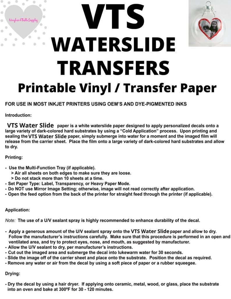 "VTS Printable Water Slide Vinyl For Inkjets, 8.5"" x 11"", 5 pack, printable vinyl, inkjet transfer paper,"
