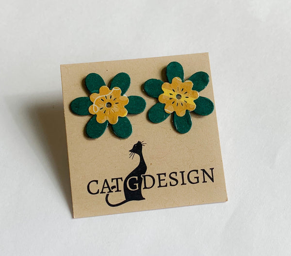 Green Flower Stud Earrings