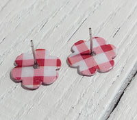 Red and White Checkered Stud Earrings
