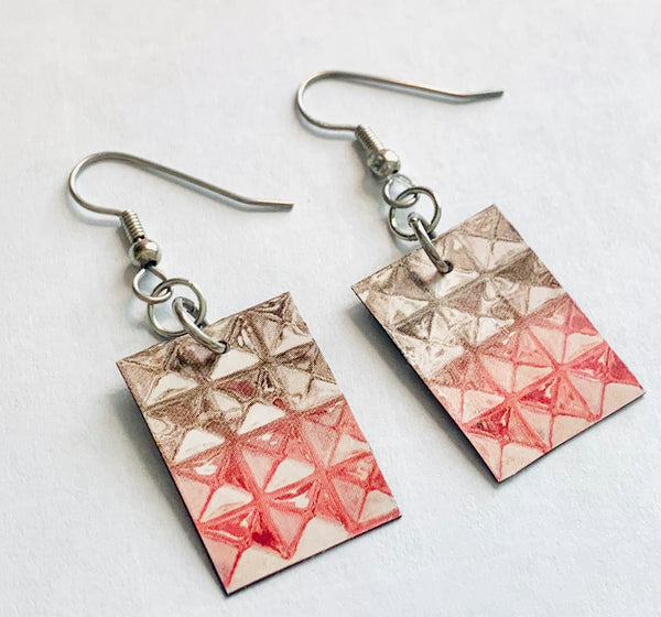 Pink and Silver Handmade Magazine Earrings