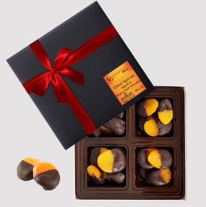 Gift Box of Belgian Dark Chocolate Dipped Dried Apricots, 5 OZ