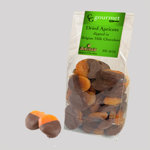 Load image into Gallery viewer, Gift Bag of Belgian Milk & Dark Chocolate Dipped Dried Apricots, 10 OZ (each)