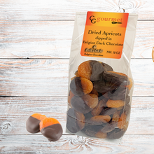 Load image into Gallery viewer, Gift Bag of Belgian Dark Chocolate Dipped Dried Apricots, 10 OZ
