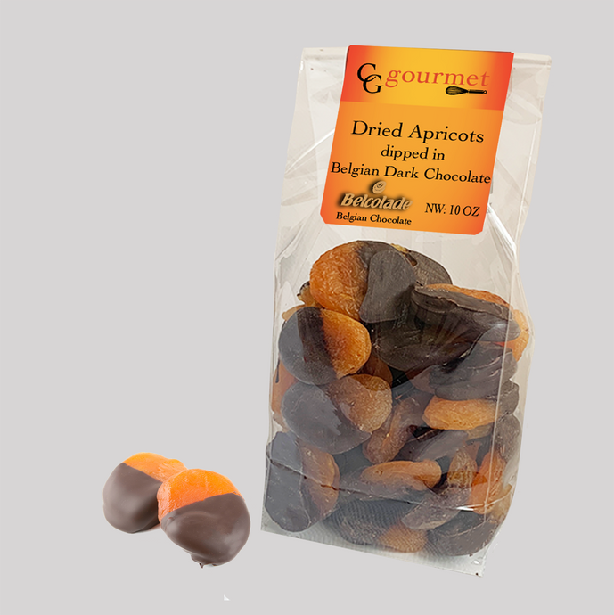 Gift Bag of Belgian Dark Chocolate Dipped Dried Apricots, 10 OZ