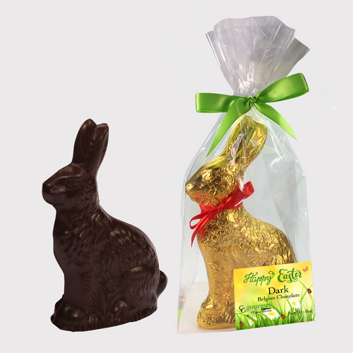 Easter Gourmet Dark Chocolate Bunny Gift Bag - 8 OZ - 8 in tall | Made with Belcoalde
