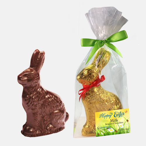 Easter Gourmet Milk Chocolate Bunny Gift Bag - 8 OZ - 8 in tall | Made with Belcoalde