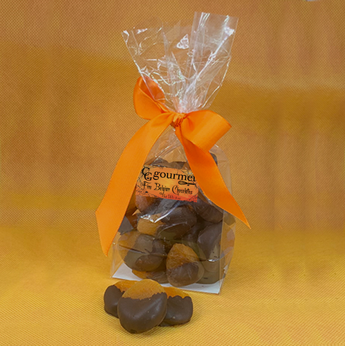 Halloween Gift Bag of Belgian Chocolate Dipped Dried Apricots, 10 OZ