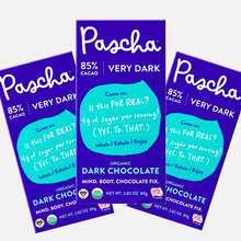 Load image into Gallery viewer, PASCHA Organic 3-pack Dark Chocolate Bars 85% Cacao - Allergen Free, Vegan, NON-GMO