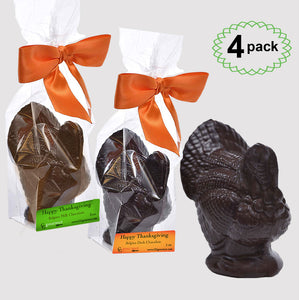 Thanksgiving Gourmet Milk and Dark Chocolate Turkey Favors, 4-pack - 12 OZ
