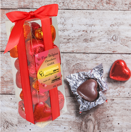 Gift Box of Belgian Dark Chocolate Hearts - 10 OZ (24 chocolates)