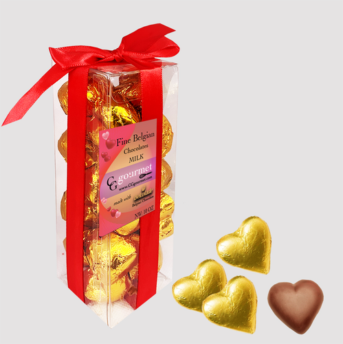 Gift Box of Belgian MILK Chocolate Hearts - 10 OZ (24 chocolates)
