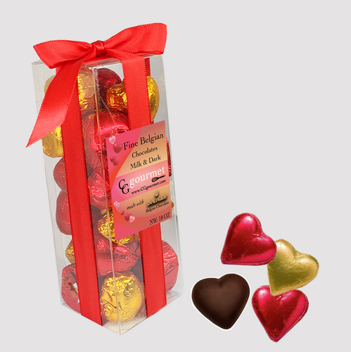 Gift Box of Belgian MILK and DARK Chocolate Hearts - 10 OZ (24 chocolates)