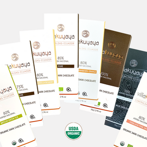 VILLAKUYAYA Organic Chocolates - 8 bars | Esmeralda, Ecuador | Keto friendly