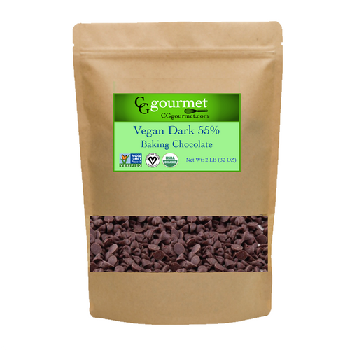Vegan Dark Chocolate Chips 55% 2 LB (32 OZ) | Organic USDA, Non-GMO Project Verified, Fair Trade
