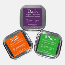 Load image into Gallery viewer, Gift & Party Favors, Belgian Chocolates | Reusable Canisters | 5oz (set of 4) Dark, Milk and White.