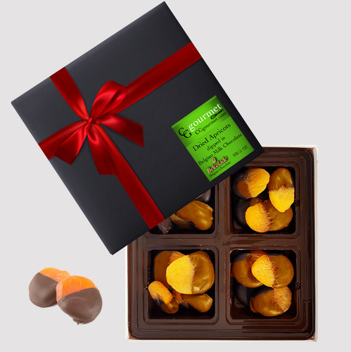Gift Box of Belgian MILK Chocolate Dipped Dried Apricots, 5 OZ