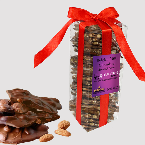 Belgian MILK Chocolate Almond Bark Gift Box – 5 OZ