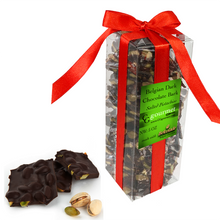 Load image into Gallery viewer, Belgian Dark Chocolate Pistachio Bark Gift Box – 5 OZ