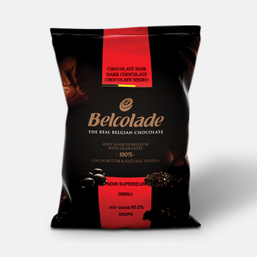 Belcolade Belgian Dark 60.5% Chocolate Noir Superieur | Bulk couverture 11LB/ 5KG | Ice Packs + Insulation