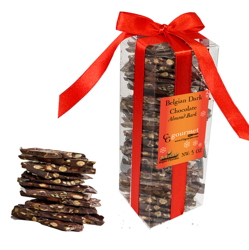 Belgian Dark Chocolate Almond Bark Gift Box – 5 OZ