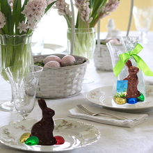 Load image into Gallery viewer, Easter Gourmet Chocolate Bunny | 6-pack Milk and Dark | 3D, with 4 Chocolate Eggs | Gift Bag - 3 in tall