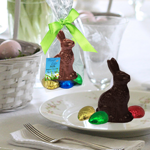Easter Gourmet Chocolate Bunny | 6-pack Milk and Dark | 3D, with 4 Chocolate Eggs | Gift Bag - 3 in tall