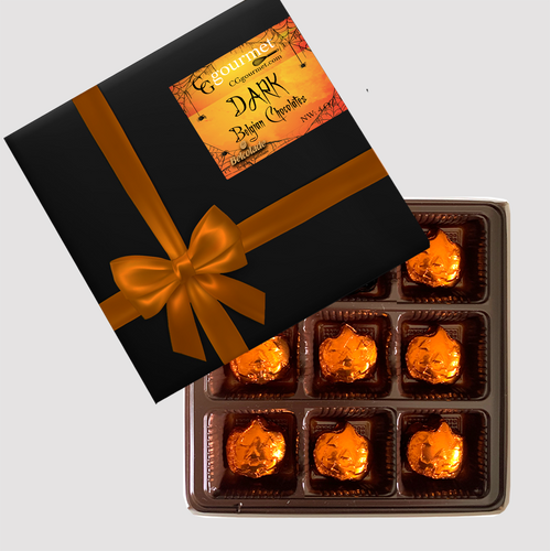 Halloween Belgian DARK Chocolate Pumpkins Individually Wrapped - Gift Box 9 Chocolates