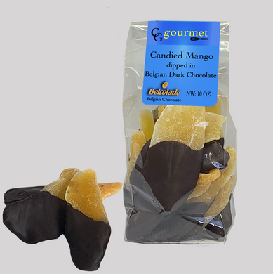 Bag of Belgian Dark Chocolate Dipped Candied Mango Slices, 10 OZ