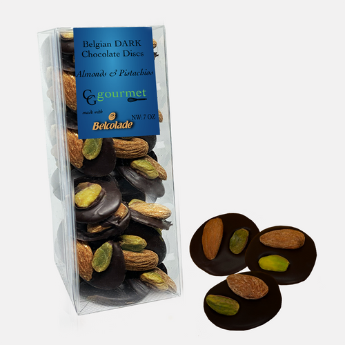 Dark Belgian Chocolate Discs studded with Almonds and Pistachios | Mendiants | 7 OZ