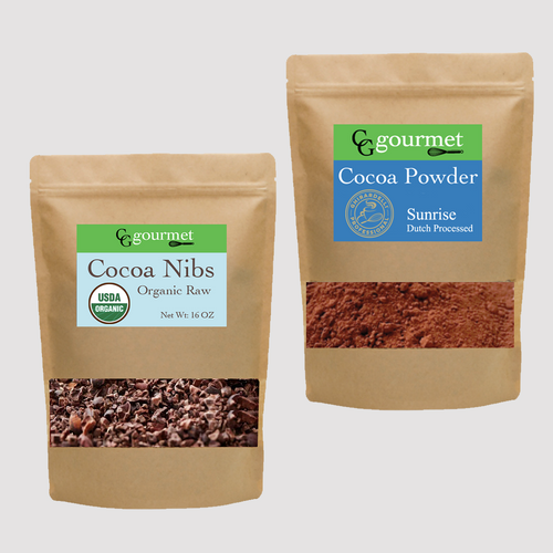Organic Cocoa Nibs and Gourmet Cocoa Powder Set 8OZ each | Superfood Keto Friendly