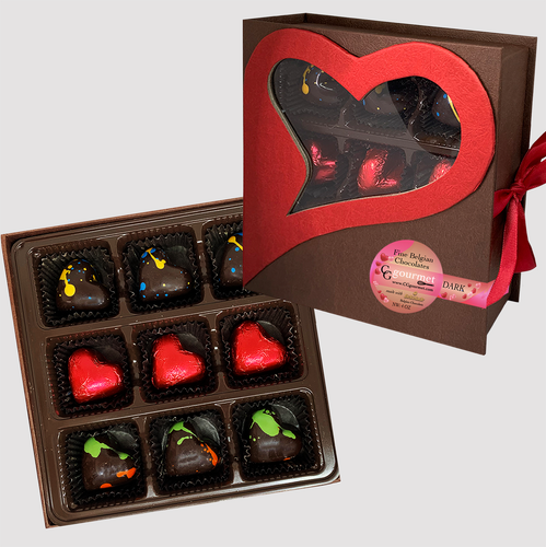 Artisanal DARK Chocolate Truffles | Valentine's Day Gift Box - 9 chocolates