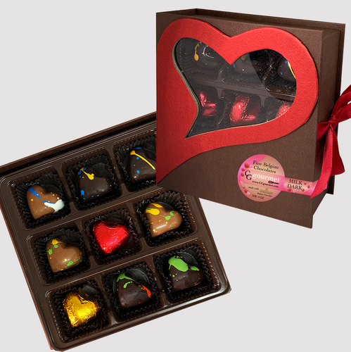 Artisanal Milk & Dark Chocolate Truffles | Valentine's Day Gift Box - 9 chocolates