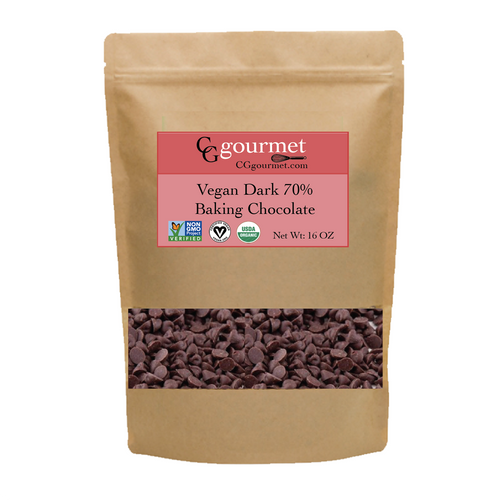 Vegan Dark Chocolate Chips 70% 16 OZ (1 LB) | Organic USDA, Non-GMO Project Verified, Fair Trade