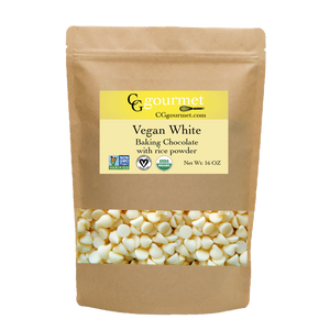 Vegan White Chocolate Chips with rice powder 16 OZ (1 LB) | Non-GMO, Organic, Fair Trade