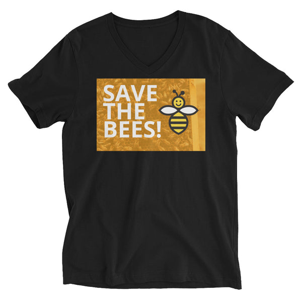 Save The Bees! Unisex Short Sleeve V-Neck T-Shirt