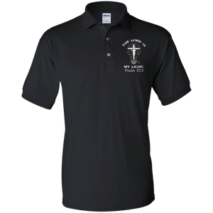 eThought Christian Apparel - The Lord Is My Light - Psalm 27:1 - Embroidered Jersey Polo Shirt