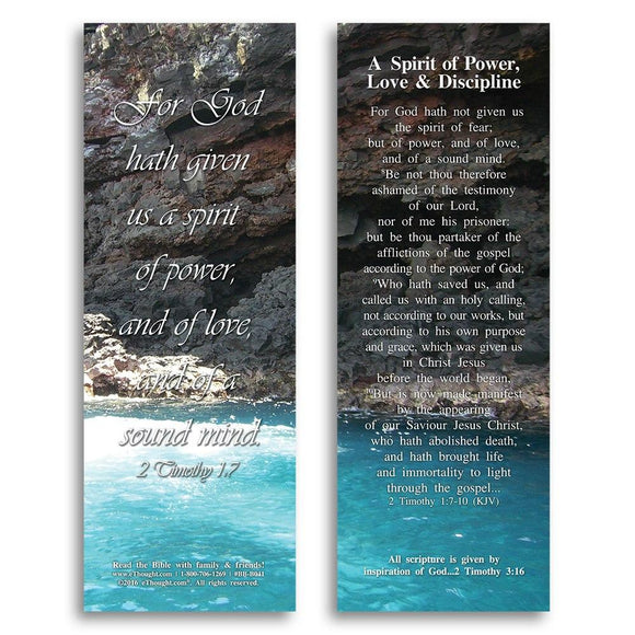 Bible Cards & Bookmarks - A Spirit Of Power, Love & Discipline - Pack Of 25 Cards - 2x6