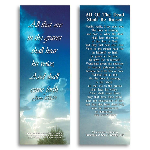 Bible Cards & Bookmarks - All Of The Dead Shall Be Raised - Pack Of 25 Cards - 2x6